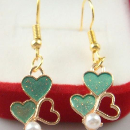 Other Glitter Heart Hand Painted Dangle Earrings Image 2