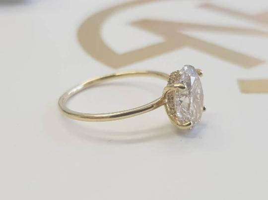 Yellow Gold 1 Carat Oval Diamond Hidden Halo Engagement Ring Image 2