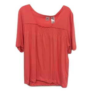 Just My Size V-neck Short Sleeve Smock Ruched Top Coral