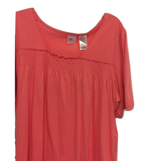 Just My Size V-neck Short Sleeve Smock Ruched Top Coral Image 1