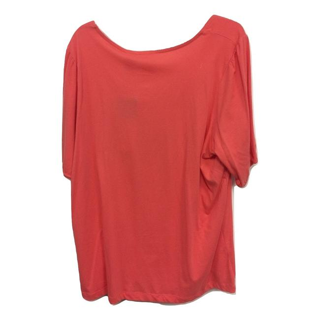 Just My Size V-neck Short Sleeve Smock Ruched Top Coral Image 2