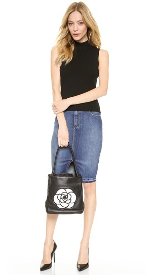 Chanel Lambskin Camellia Tote in Black Image 6