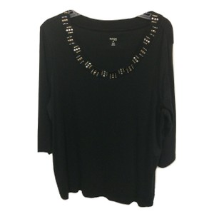 Style & Co Scoop Neck Embellished 3/4 Sleeve Cotton Metallic Top Black