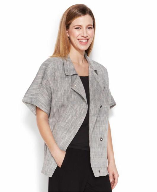 Item - Gray Dark Pearl Classic Collar Boxy Textured Woven Jacket Size 6 (S)
