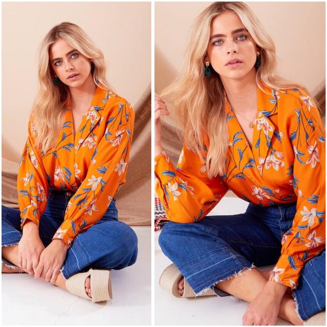 Neon Rose Top floral Image 2