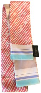 Louis Vuitton Rare Pastel Light Coral and Pink Bandeau Scarf / Twilly Wrap