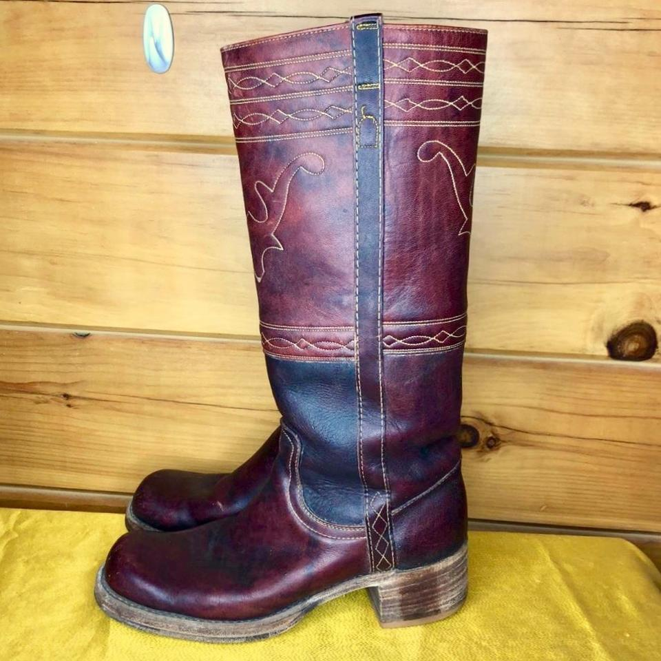 6826aab8c30 Frye Burgundy Vintage 70s Campus Longhorn Tall #8175 Leather Boots ...