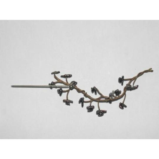 vintage Abstract Brass and Grey Freshwater Pearl Tree Branch Pin Image 3