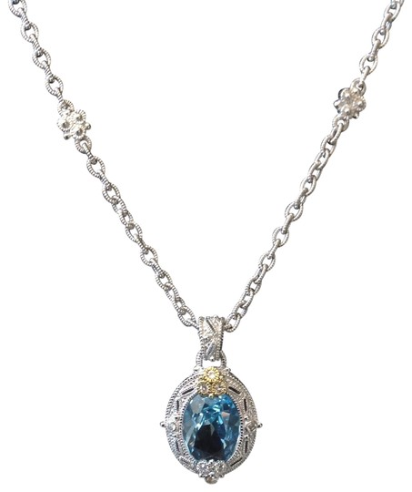 Preload https://img-static.tradesy.com/item/25761191/judith-ripka-blue-topaz-sterling-silver-18k-pendant-necklace-0-2-540-540.jpg