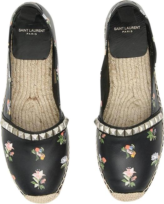 Item - Black Multicolor Prairie Flower Printed Espadrille Studded Leathe Flats Size EU 38 (Approx. US 8) Regular (M, B)
