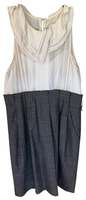 Item - Cream and Gray Short Work/Office Dress Size 8 (M)