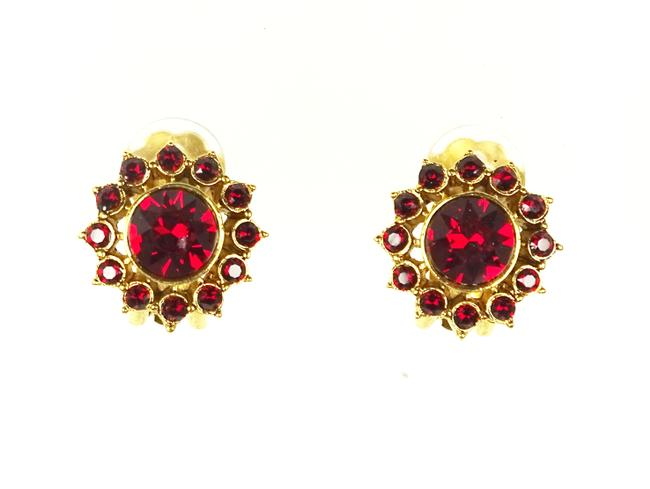 Item - Red Gold Plated Garnet Crystal Clip-on Earrings