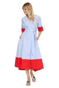 blue and red Maxi Dress by MDS Stripes