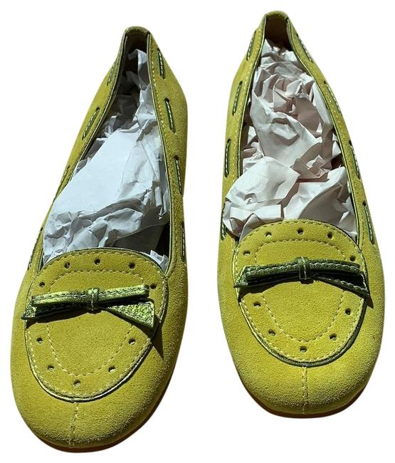 Item - Limey Yellow Suede with Green Trim A2277 Juliana Flats Size US 8 Regular (M, B)
