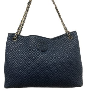 Tory Burch Leather Quilted Tote in Blue
