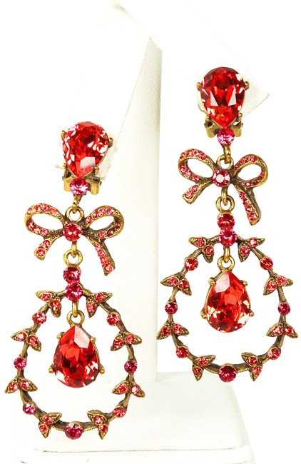 Item - Red Antique Gold Crystal Statement Clip-on Earrings