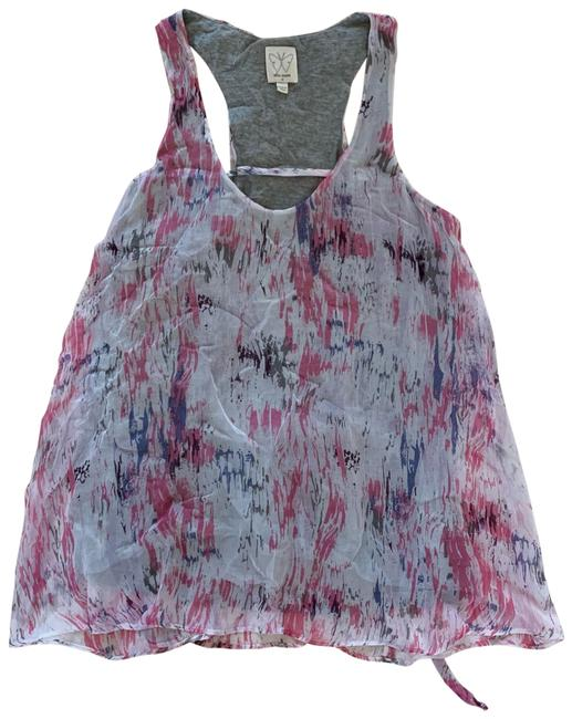 Item - Pink and Gray Cotton Doubled Lined Racerback Blouse Size 8 (M)