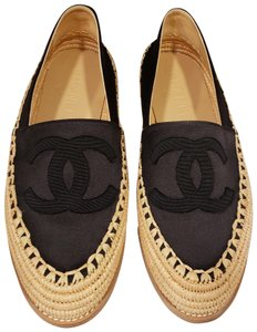 Chanel Espadrille Fabric Satin Jute Black Flats