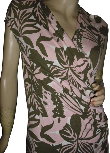 Item - Light Pink Taupe Brown Faux Wrap Draped Tropical Print Mid-length Short Casual Dress Size 8 (M)