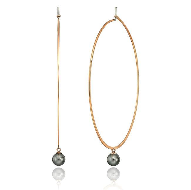Item - Rose Gold Tone/Grey Mkj6662 Modern Classic Pearl Hoops Necklace
