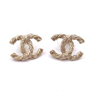 Chanel CC Logo Twisted Crystal Studs Earrings