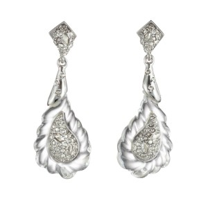 Alexis Bittar Crystal Encrusted Paisley Rope Clear Lucite Drop Earrings
