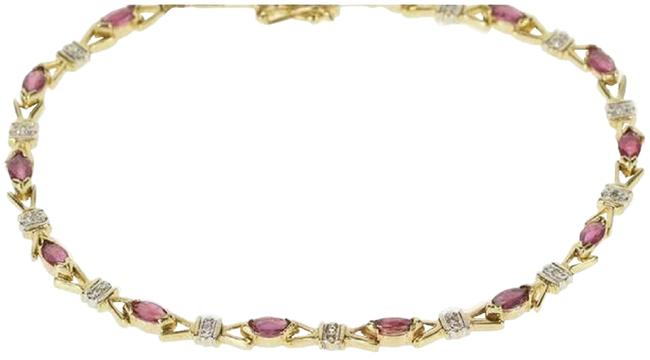 Zales Red Gold 10k Yellow Ruby and Diamond Tennis Bracelet Zales Red Gold 10k Yellow Ruby and Diamond Tennis Bracelet Image 1