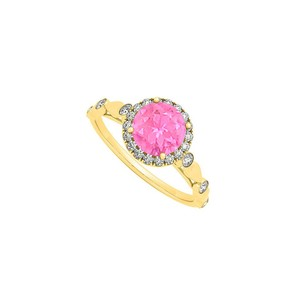 Marco B September Birthstone Round Pink Sapphire and CZs Engagement Ring
