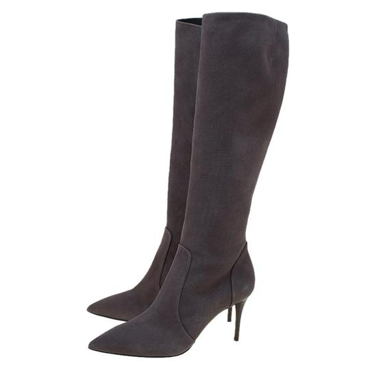 Giuseppe Zanotti Suede Pointed Toe Grey Boots Image 4