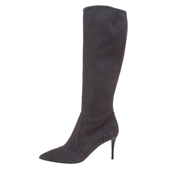 Giuseppe Zanotti Suede Pointed Toe Grey Boots Image 5