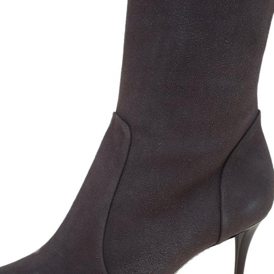 Giuseppe Zanotti Suede Pointed Toe Grey Boots Image 6