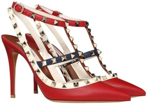 Valentino Rockstud Pointed Toe Strappy Red Pumps