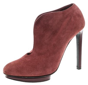 Alexander McQueen Suede Ankle Red Boots