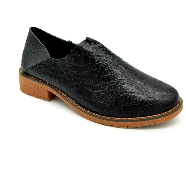 Item - Black Leather Loafers Croc Embossed Flats Size EU 42 (Approx. US 12) Regular (M, B)