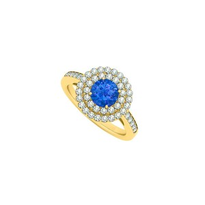 Marco B Halo Sapphire and Double Circle Cubic Zirconia 14K Yellow Gold Round