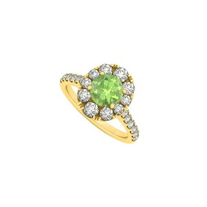 Marco B 2 Carat Round Peridot and Cubic Zirconia 14K Yellow Gold