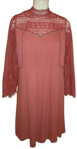 Ultra Pink short dress dusty rose Crochet Long Sleeve Sheer Gauze 001onm on Tradesy