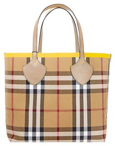 Burberry Reversible Tote in Yellow / Vintage Check