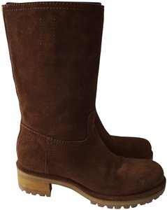 Prada Riding Suede Knee High Brown Boots