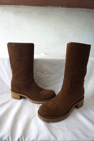 Prada Riding Suede Knee High Brown Boots Image 4