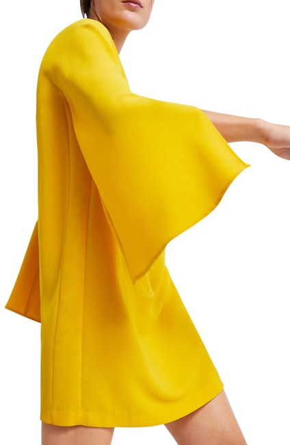 Item - Yellow With Cape Sleeves Short Work/Office Dress Size 8 (M)