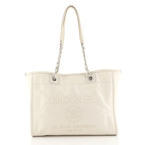 Chanel Deauville Glazed Calfskin Tote in white