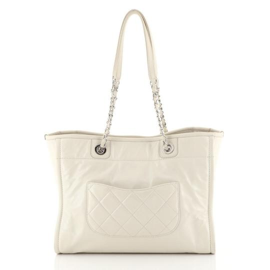 Chanel Deauville Glazed Calfskin Tote in white Image 2