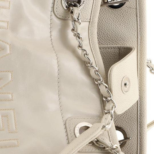 Chanel Deauville Glazed Calfskin Tote in white Image 5