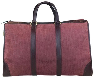 Dior Embossed Duffle Trotter Red Travel Bag