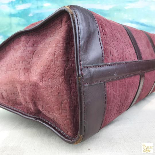 Dior Embossed Duffle Trotter Red Travel Bag Image 4
