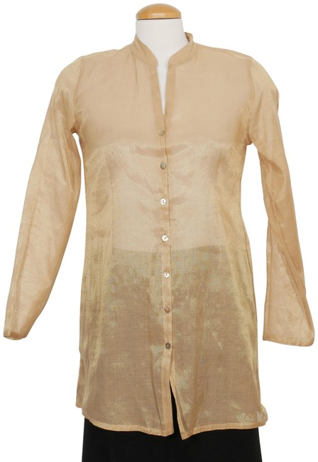 Preload https://img-static.tradesy.com/item/25764845/eileen-fisher-antique-gold-cotton-blend-metallic-shimmer-tunic-shirt-ps-blouse-size-petite-6-s-0-1-650-650.jpg
