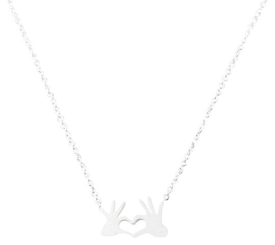Preload https://img-static.tradesy.com/item/25764856/silver-stainless-steel-chain-double-hand-love-heart-necklace-0-1-540-540.jpg
