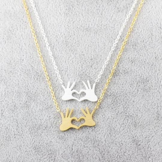 Other Stainless Steel Chain Jewelry Double Hand Love Heart Necklace Image 3