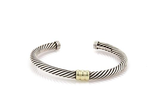 David Yurman Single Bar Cable Sterling & 14k Yellow Gold Cuff Bangle Bracelet Image 1